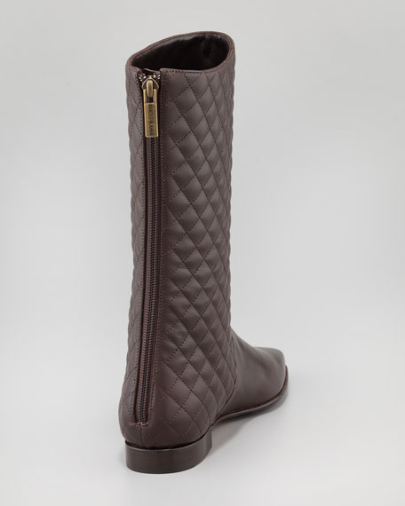 Courrin Quilted Flat Mid-Calf Boot, Brown