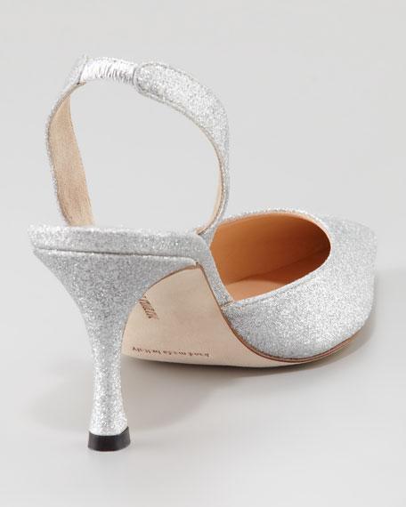 Carolyne Glitter Mid-Heel Halter, Silver