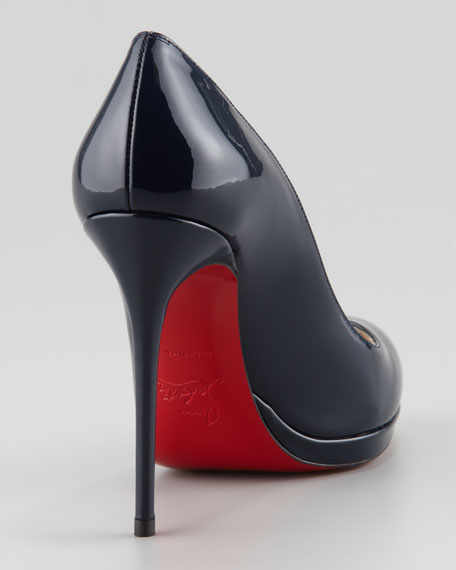 Filo Patent Platform Red Sole Pump, Navy