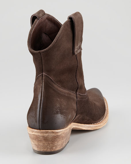 Suede Western Ankle Bootie, Brown