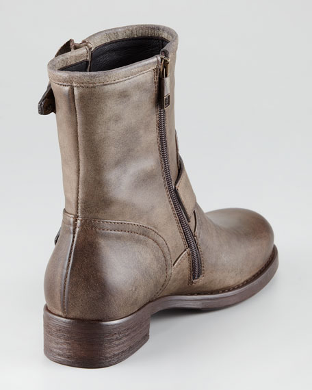 Buckled Leather Moto Boot