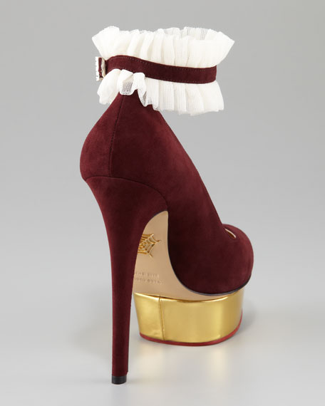 Dolly Island Suede Platform Pump, Burgundy