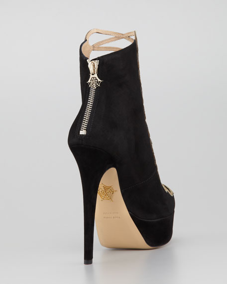 Zena Metallic-Cage Suede Ankle Boot