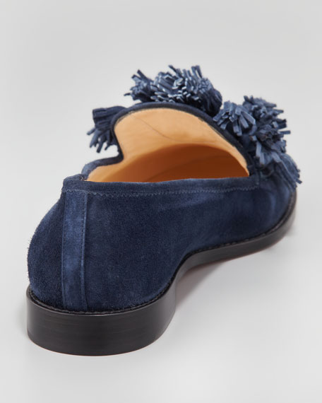 Japonaise Tassel Red Sole Loafer, Navy