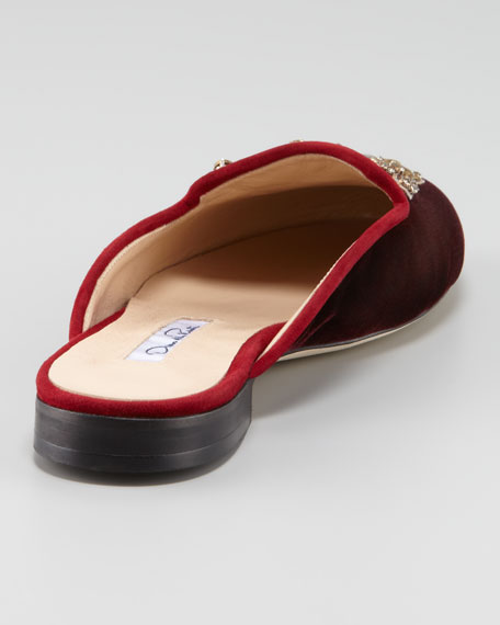 Embroidered Smoking Slipper Mule