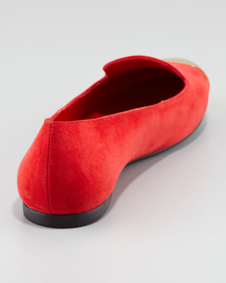Metallic Cap-Toe Loafer, Red