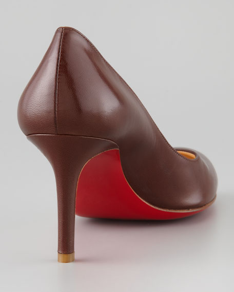 Simple Mid-Heel Red Sole Pump, Medium Brown