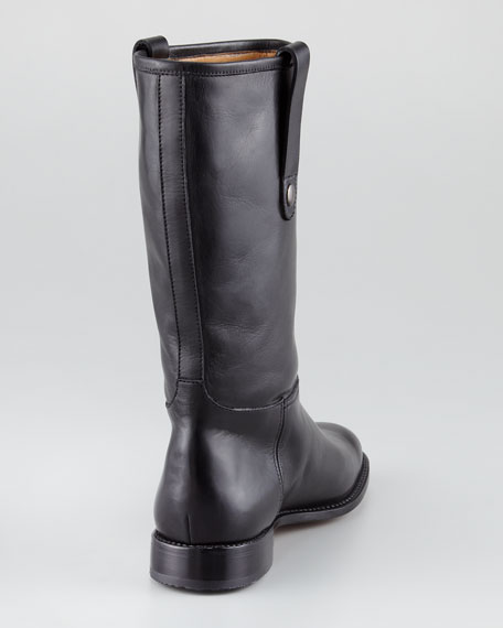 Pull-On Flat Boot, Black