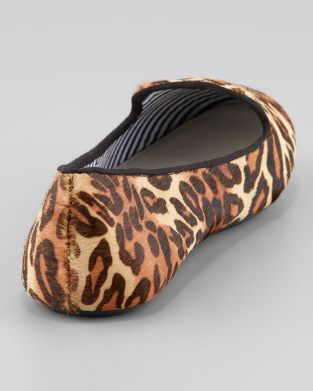 Leopard-Print Calf Hair Slipper