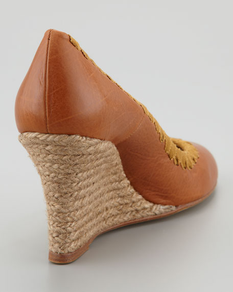 Grosgrain-Stitched Leather Espadrille Pump, Brown