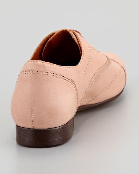 Calfskin Derby Lace-Up Oxford, Nude