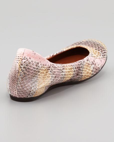 Snakeskin Scrunched Ballerina Flat, Rose