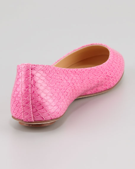 kat snake-print ballerina flat, pink