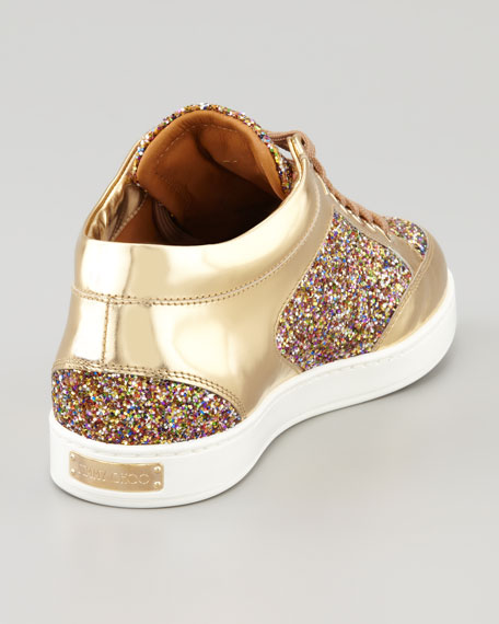Miami Low-Top Glitter Sneaker, Gold