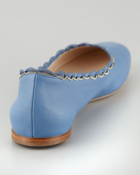 Scalloped Chain Ballerina Flat, Blue