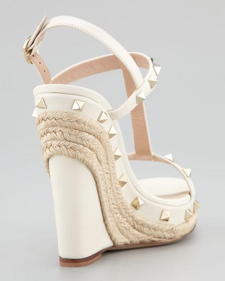 Jute-Trim Rockstud Wedge Sandal, Ivory