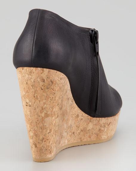 Leather Cork Wedge Sandal