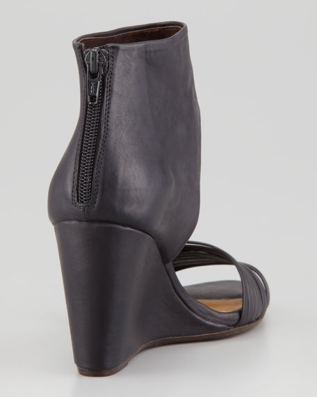 Juna Open-Toe Ankle Wedge Sandal, Black