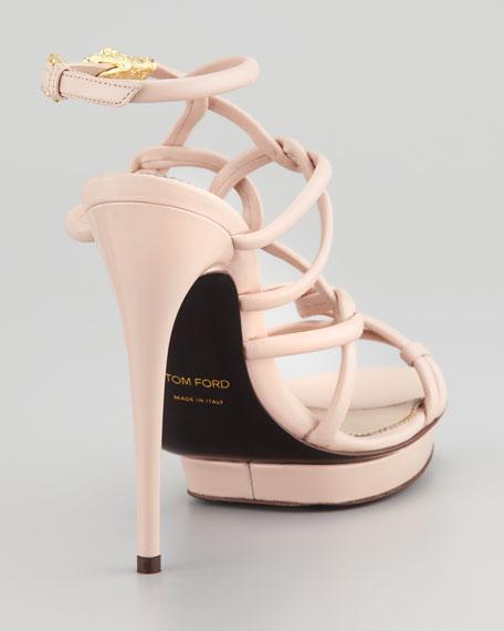 Platform Sandal with Snake Head Buckle, Light Pink