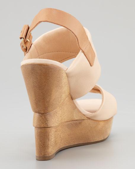 Ophelia Leather Wedge Sandal, Nude
