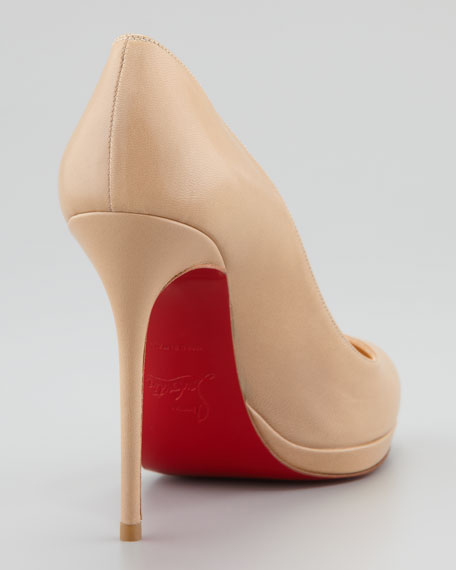 Filo Platform Red Sole Pump, Beige