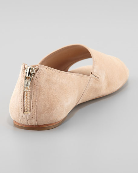 Pax Open-Toe Suede Loafer, Nude