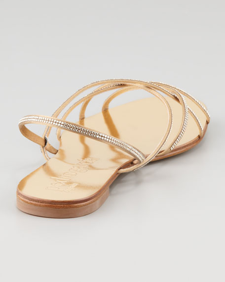 Elora Crystal-Detailed Flat Sandal, Pewter