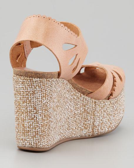 Danna Cutout-Scalloped Leather Wedge Sandal