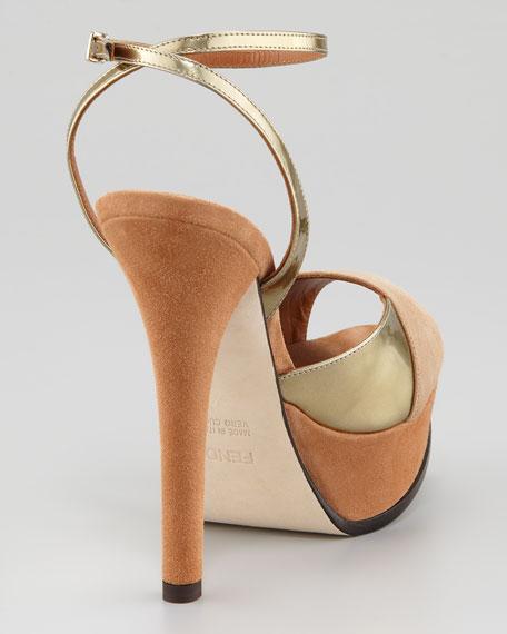 Fendista Colorblock Ankle-Wrap Sandal, Gold Camel