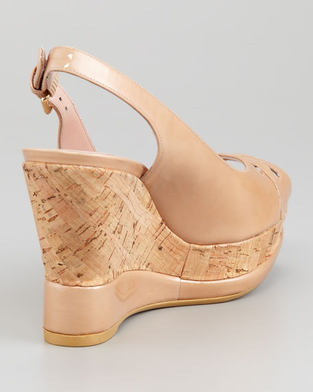 Dolunch Patent Leather and Cork Slingback Wedge