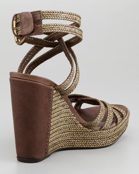 Reins Braided Leather Crisscross Wedge Sandal