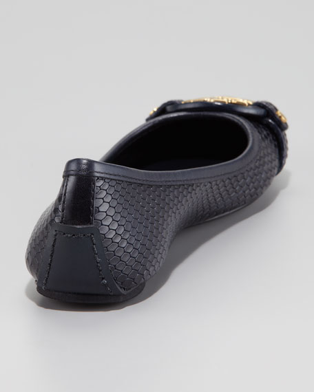 Aaden Snake-Print Ballet Flat, Navy