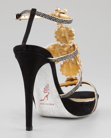 Jeweled T-Strap Sandal, Black