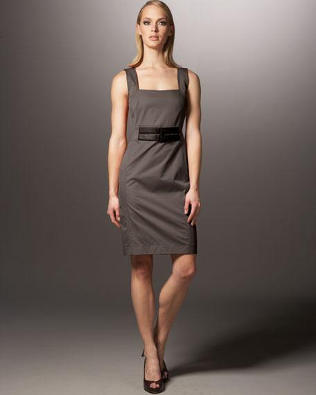 Belted Twill Sheath Dress