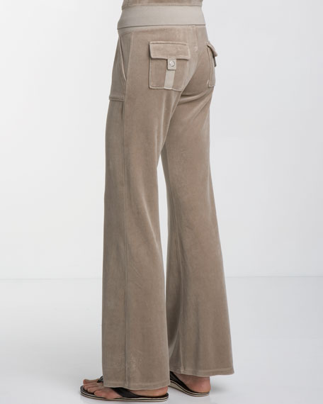 Snap-Pocket Velour Pants