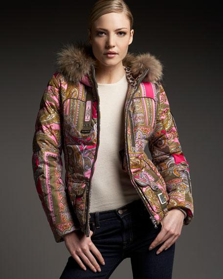Paisley-Print Fur-Trim Jacket