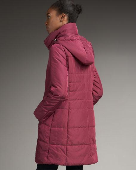 High Collar Coat With Detachable Hood