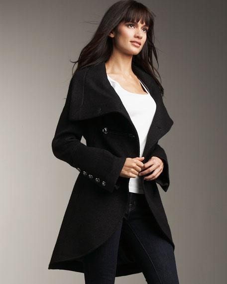 Toggle-Front Cutaway Wool Coat