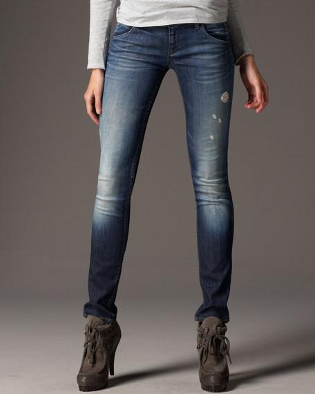 Distressed Skinny-Leg Cumbria Jeans