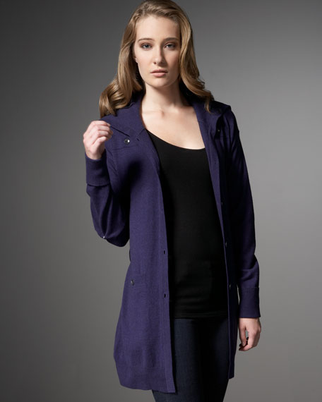 Long Wool-Cashmere Belted Cardigan