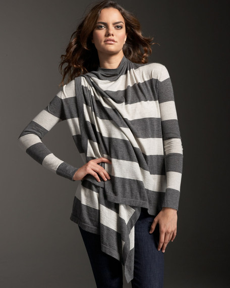 Rugby-Stripe Cashmere Cardigan