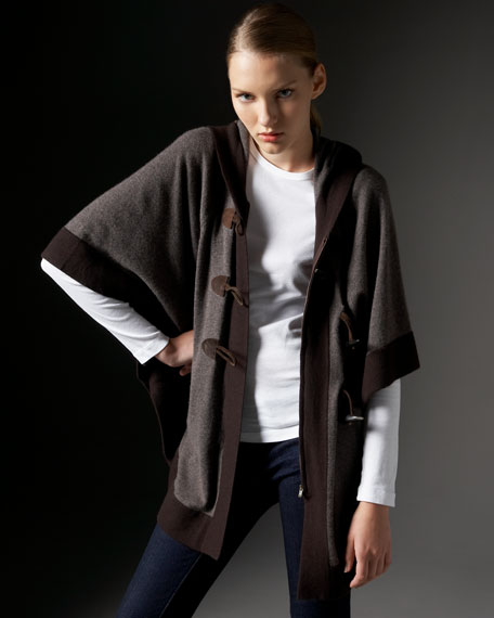 Cashmere Hoodie Cape With Toggles