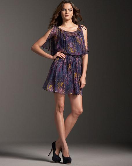 Belted Splatter-Print Chiffon Dress