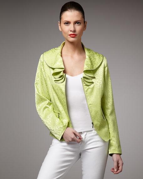 Ruffle-Collar Zip Jacket, Petite