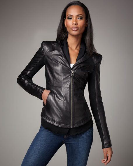 Clarise Scarf-Collar Leather Jacket