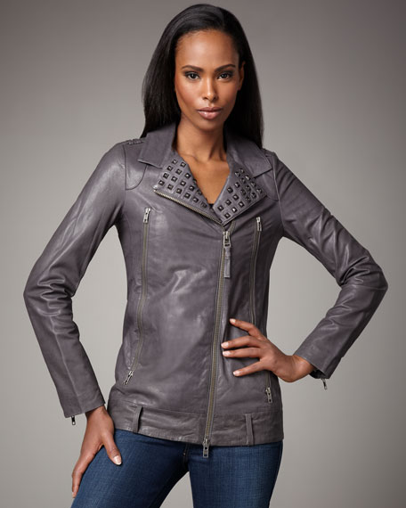 Leticia Blazer-Fit Leather Jacket