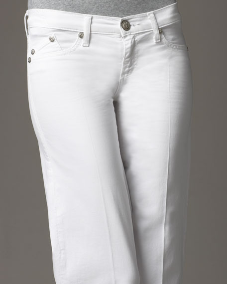 Kariana Wide-Leg Twill Pants, White