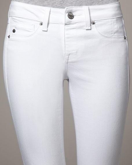 Spring Street Pull-On Skinny Jeans, White