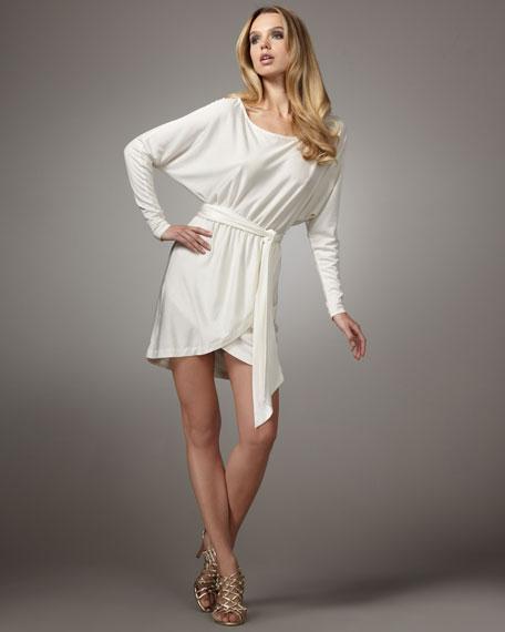 Off-Shoulder Sash Dress, Shell