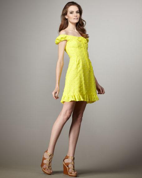 Speak Easy Cap-Sleeve Dress